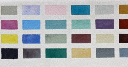 watercolour mixing chart, limited palette, colour Mix recipes, debiriley.com