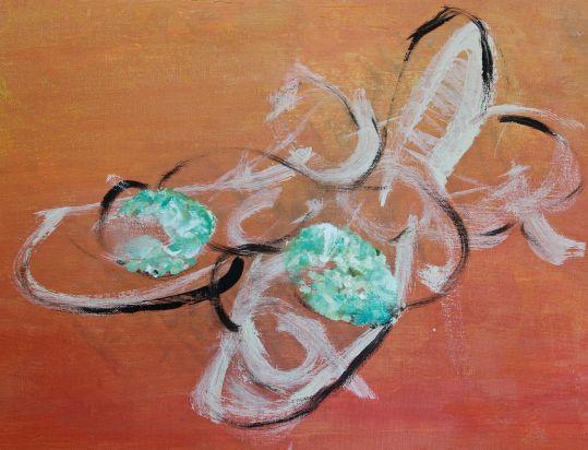 cobalt teal blue slipper bows, painting, debiriley.com