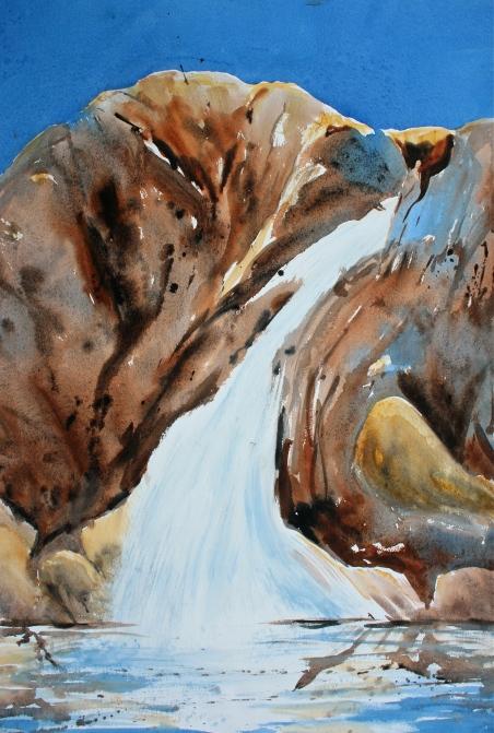 Impressionistic watercolour waterfall debiriley.com