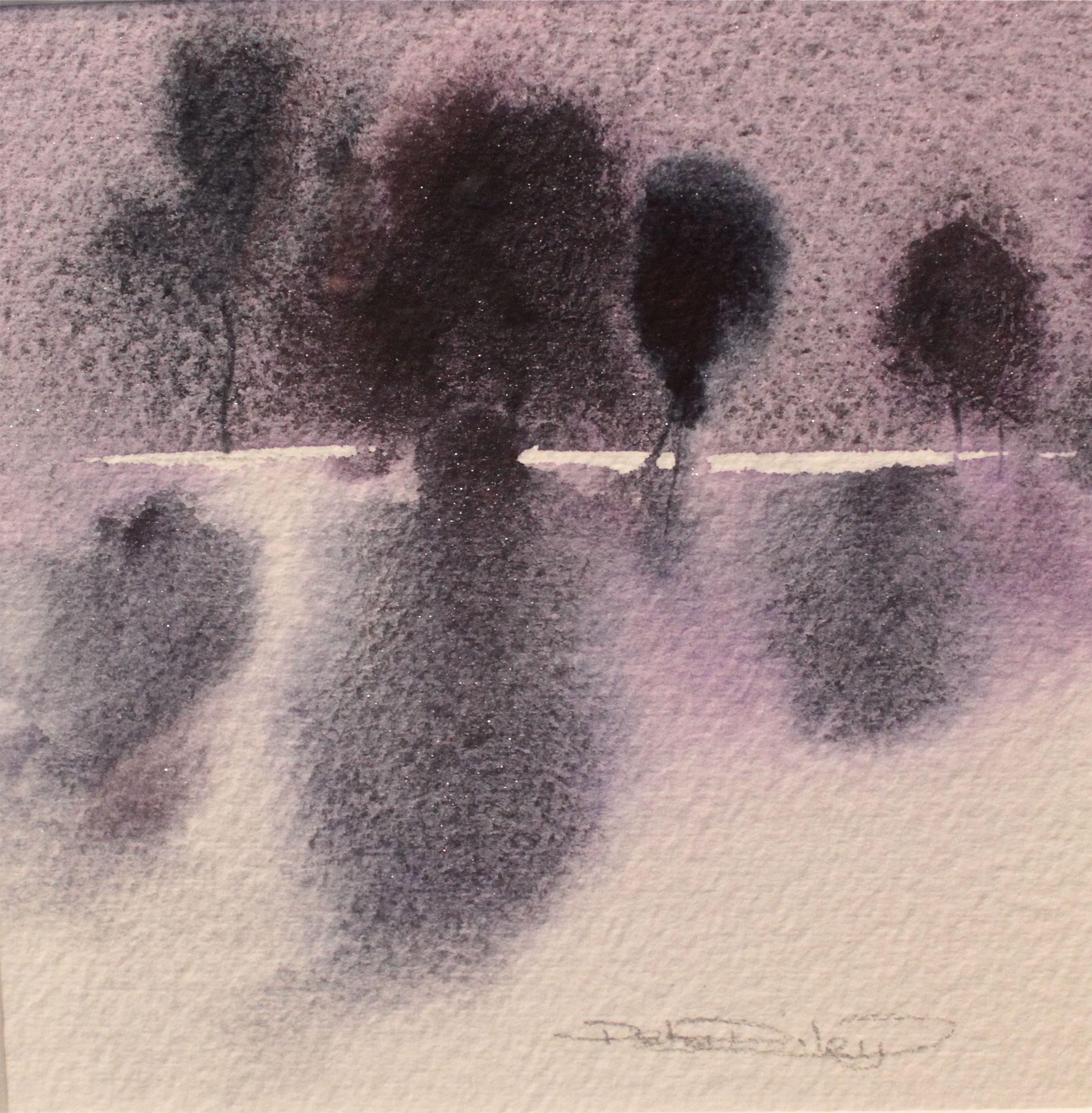 easy watercolor beginner landscapes,Impresssionist tree landscape, plum trees, debiriley.com