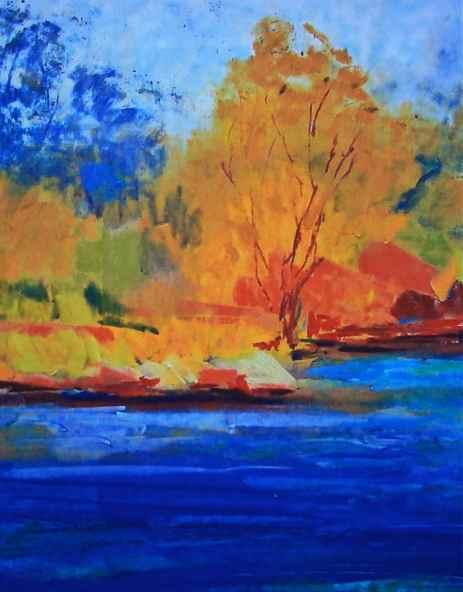 unison pastels, contemporary landscape painting, bright colorful autumn tones in the landscape, debiriley.com