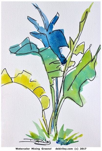 watercolor strelitzia, bird of paradise watercolour, mixing greens in watercolor, botanical leaves, ultramarine blue pb29, winsor lemon py175, prussian blue pb27, debiriley.com