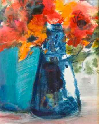 bright coral orange flowers in blue teal vase, acrylic painting, debiriley.com