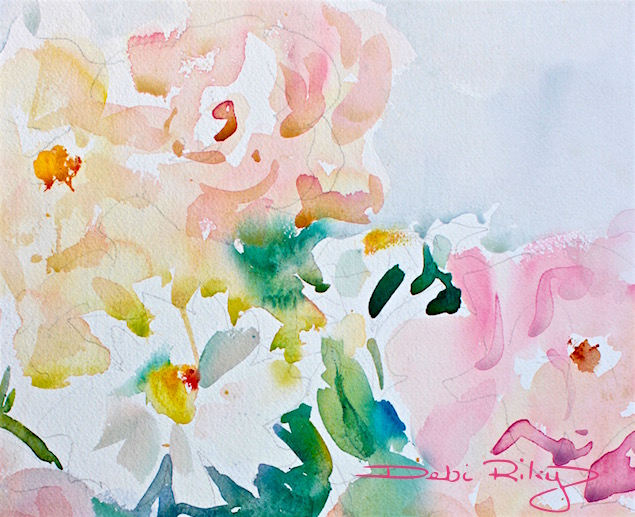 watercolor flower bouquet, still life, debiriley.com