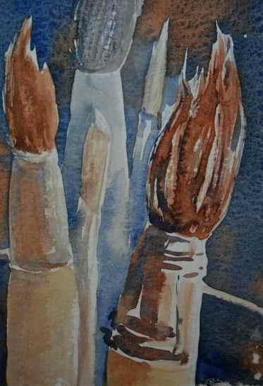 watercolor brushes, Raphael brush, Kolinsky sable, watercolor painting of brushes, debiriley.com