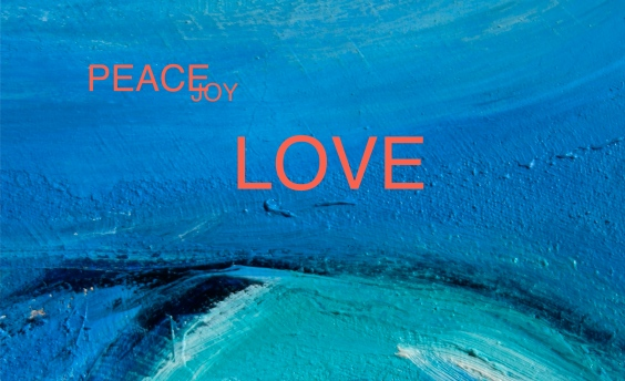 peace, joy, love oil painting in blue debiriley.com
