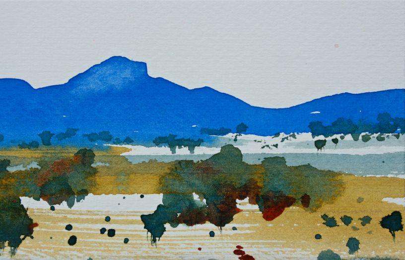 Stirling Ranges in cobalt watercolours debiriley.com