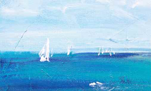 sailing the sea, acrylic painting in blues, debiriley.com