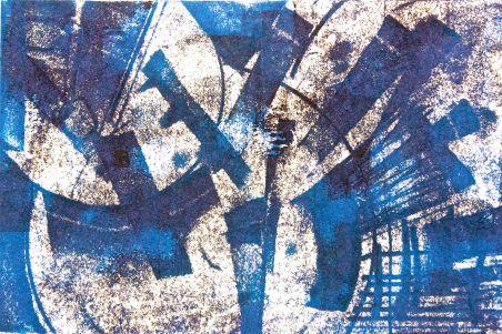 radiating patterns of blue ink