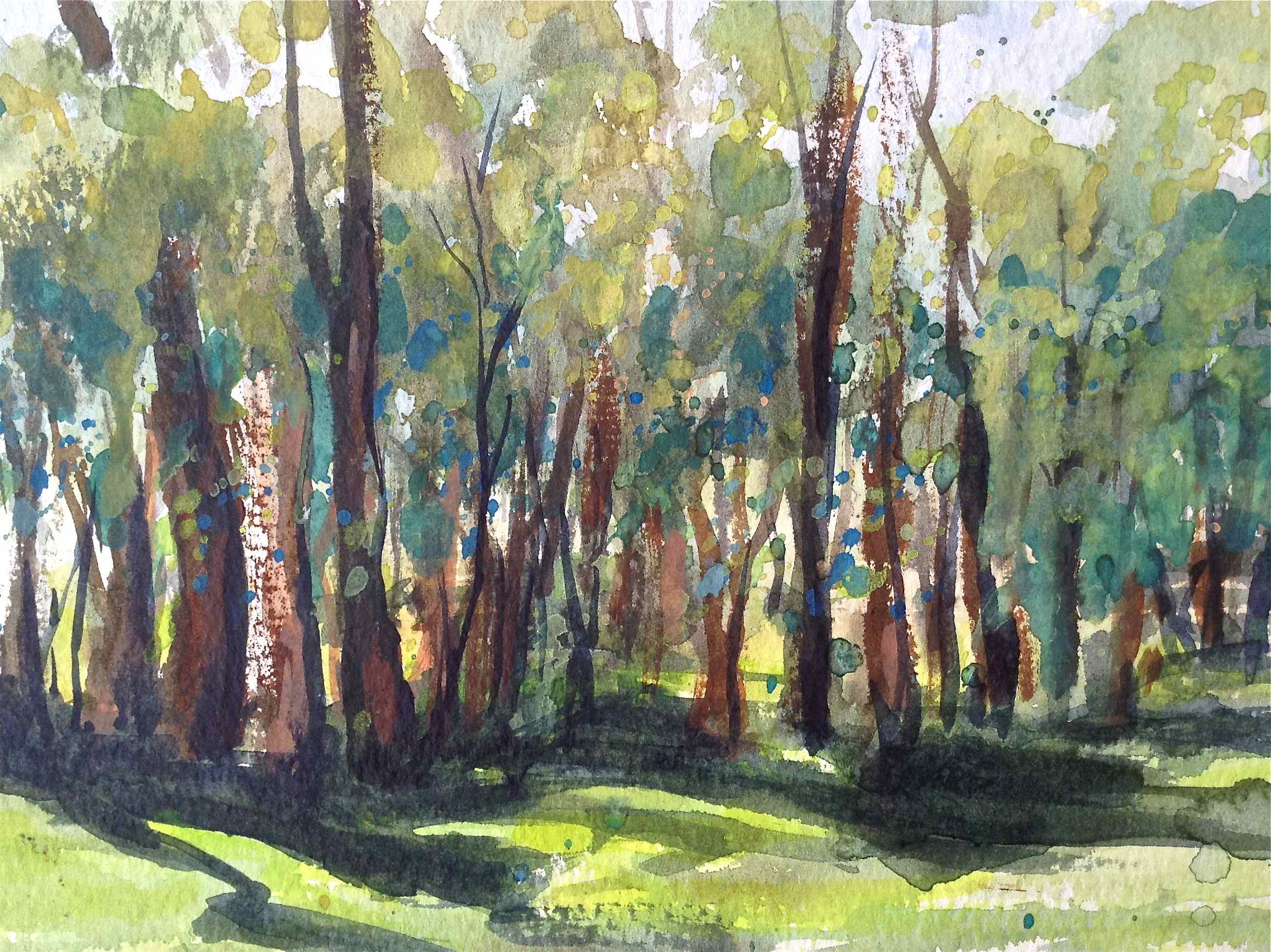 impressionist watercolor landscape, painting foliage greens, hornsby bushland debiriley.com