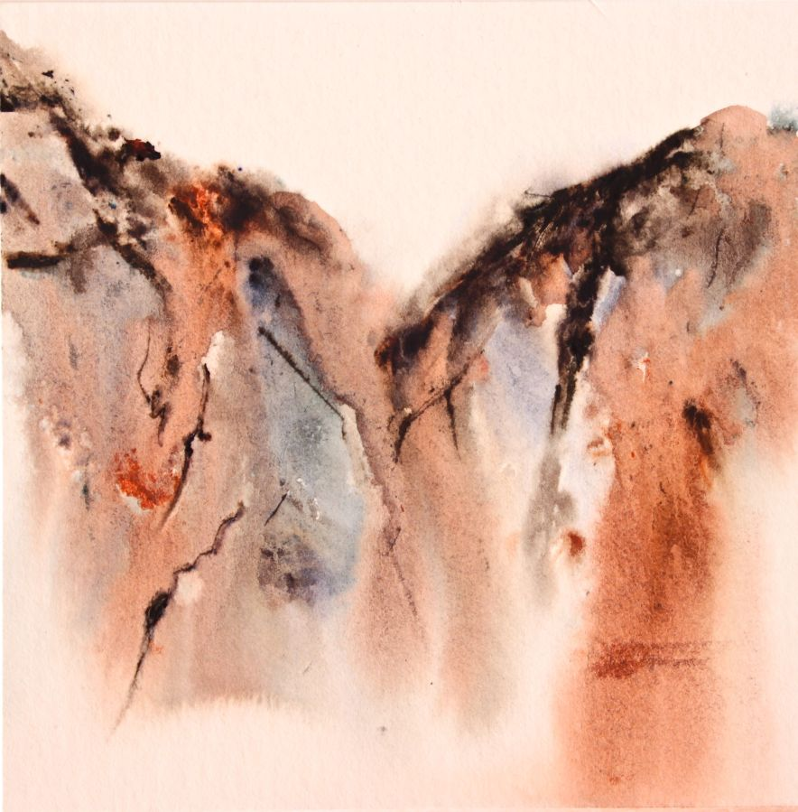 fun creative watercolor techniques, watercolor with palette knife, mountain landscape, debiriley.com