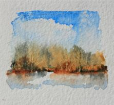 Summer impressionist watercolor landscape painting, debiriley.com