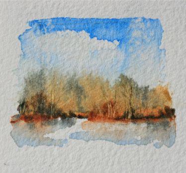 Summer impressionist watercolor landscape painting, debiriley.com