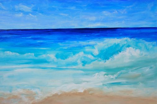 surf painting in acrylics, debiriley.com