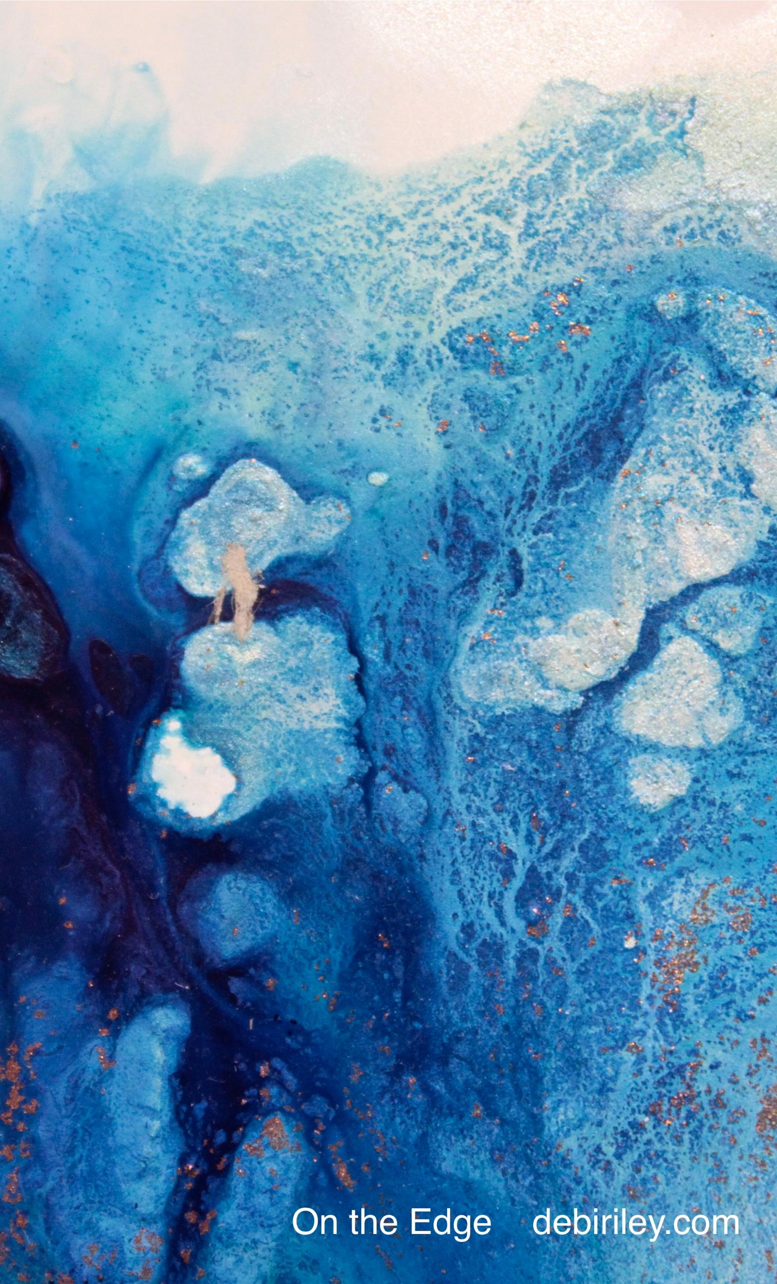 abstract painting in deep blues, ultramarine blue, prussian blue, easy art ideas for beginners, debiriley.com