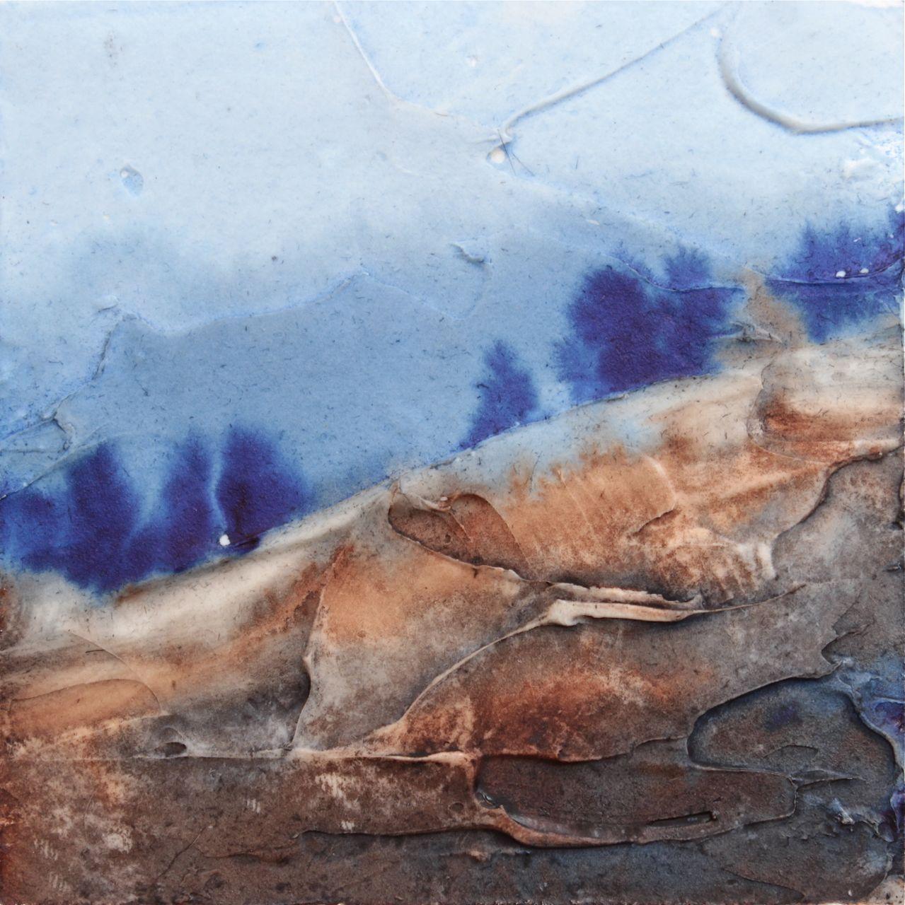 watercolor landscape trees, with texture, debiriley.com