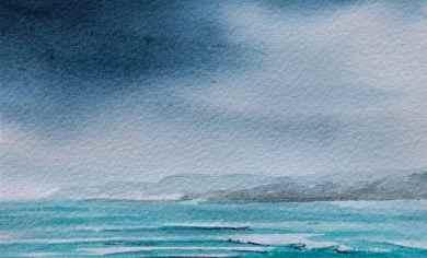 watercolour turquoise seascape debiriley.com