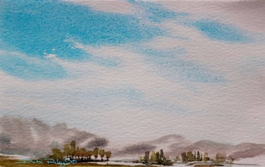 drifting clouds in the sky, watercolor painting debiriley.com
