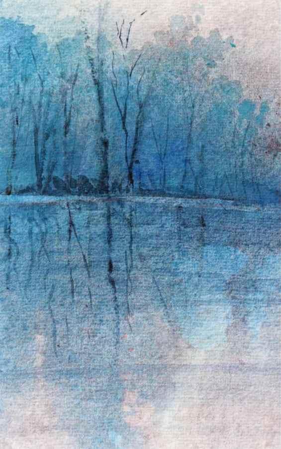 watercolour landscape cerulean