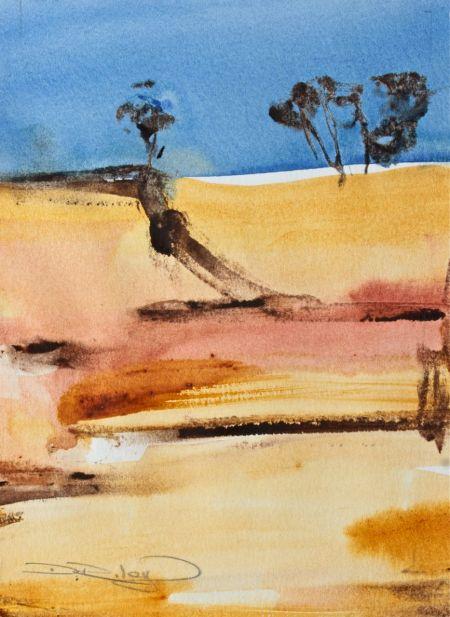watercolour outback trees debiriley.com