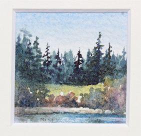 miniature watercolour impressionistic landscape debiriley.com