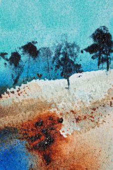 Impressionistic watercolour trees debiriley.com