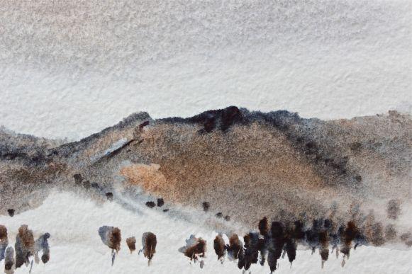 Indigo Burnt Umber watercolour painting debiriley.com