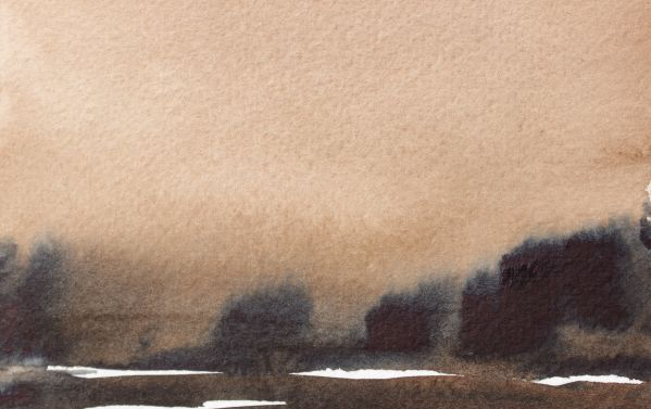 burnt umber indigo watercolour landscape debiriley.com