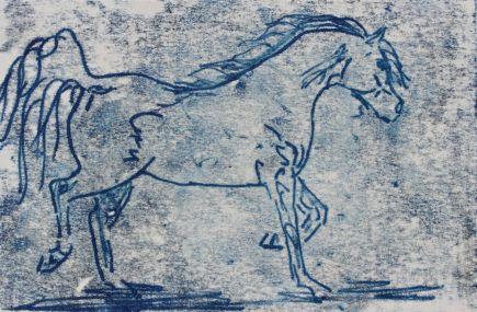 arabian horse print indigo debiriley.com