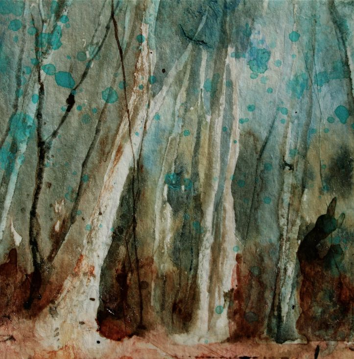 A forest in cobalt teal mixed media debiriley.com