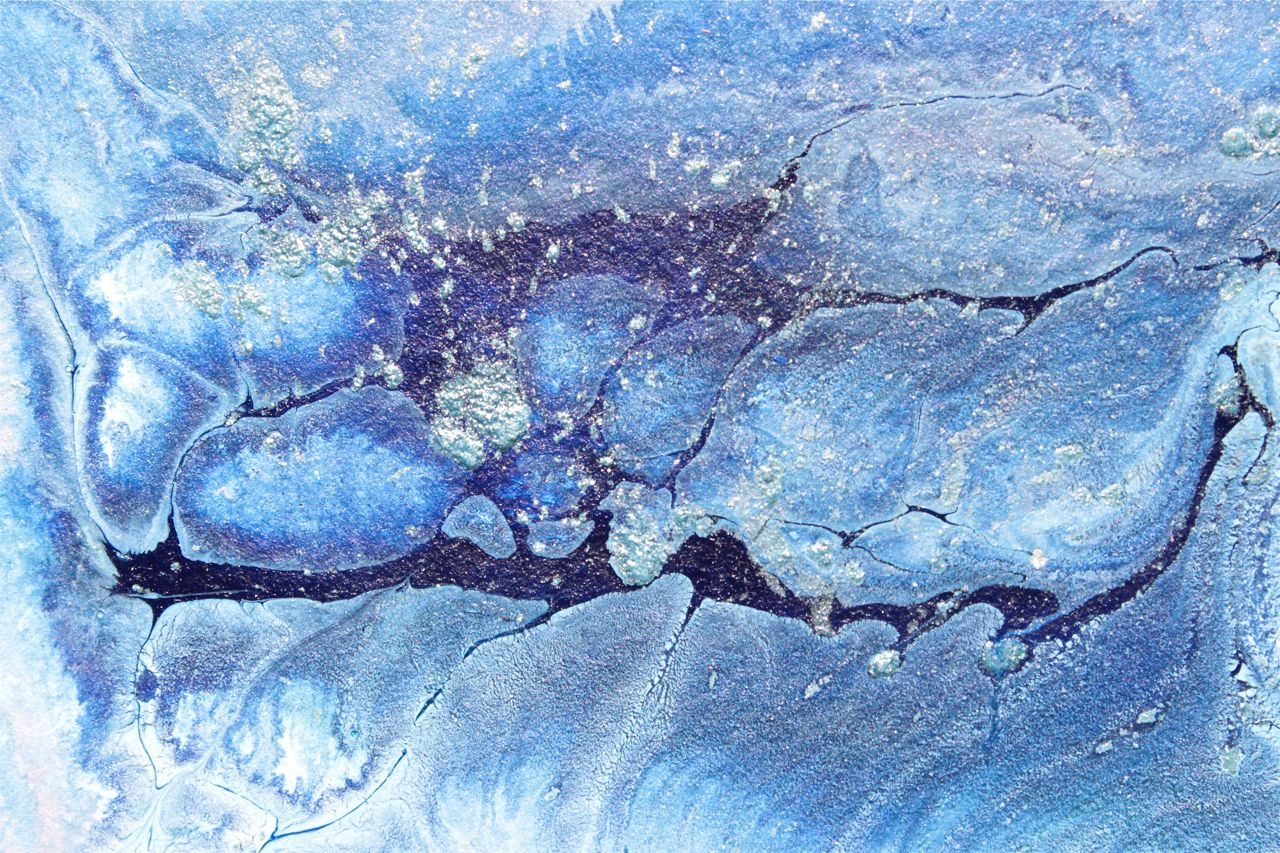 pouring painting abstract, Indanthrone Blue acrylic on canvas, creative fun techniques in acrylics, debiriley.com