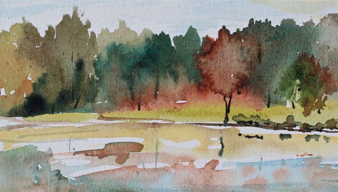 Watercolour Landscape FallFoliage