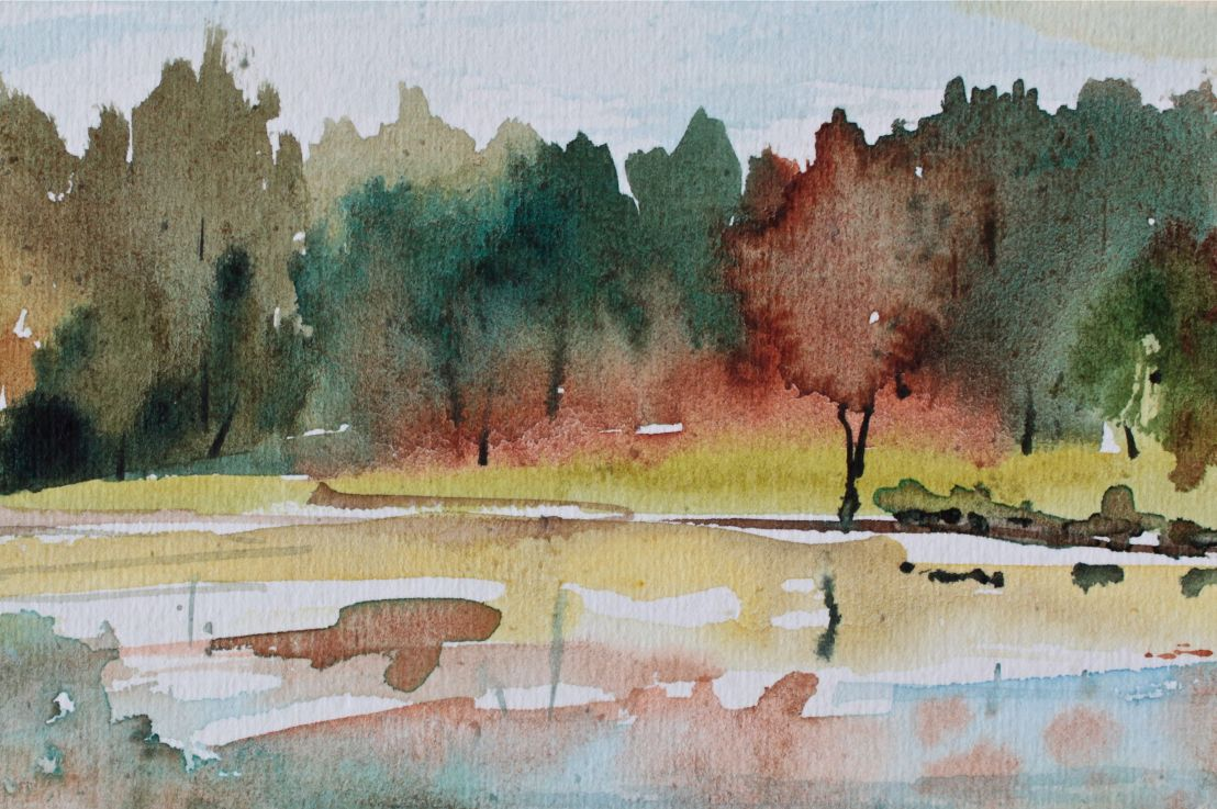 Watercolour Landscape Fall Foliage
