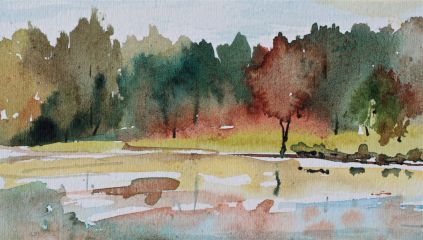 fall foliage watercolours landscape debiriley.com