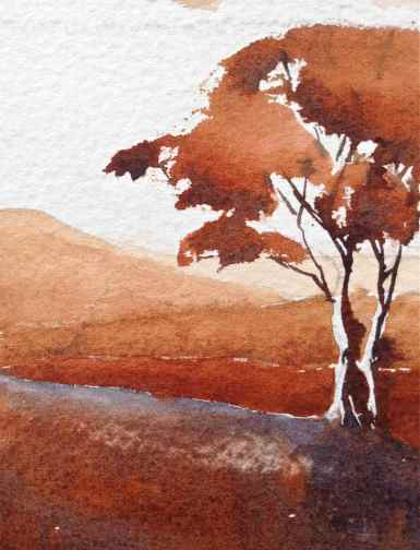 Burnt Sienna PBr7, monochrome watercolor landscape mountains, trees, debiriley.com