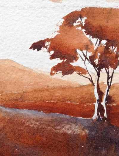 Burnt Sienna PBr7, monochrome watercolor landscape mountains, trees, debiriley.com