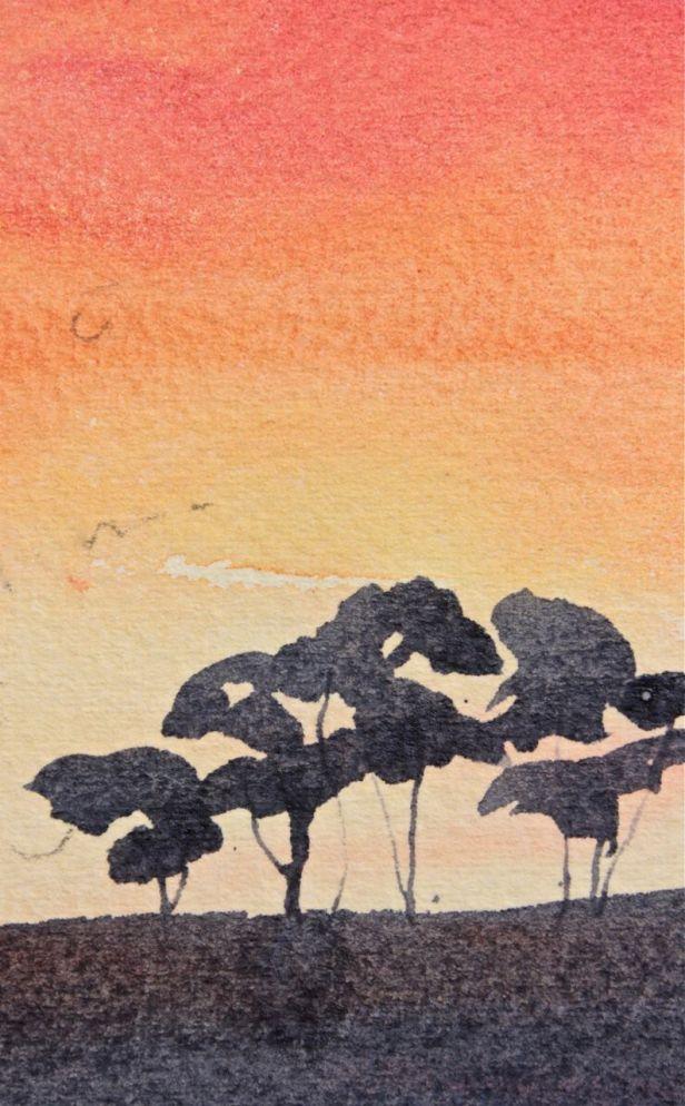 watercolour sunset study debiriley.com