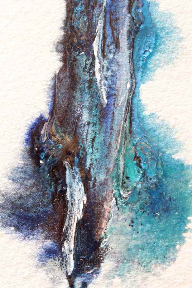 watercolour with knife using cerulean and cobalt teal debiriley.com