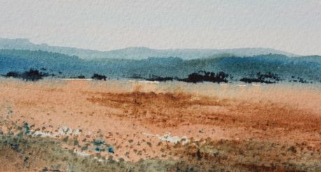NSW blue hills watercolour landscape debiriley.com