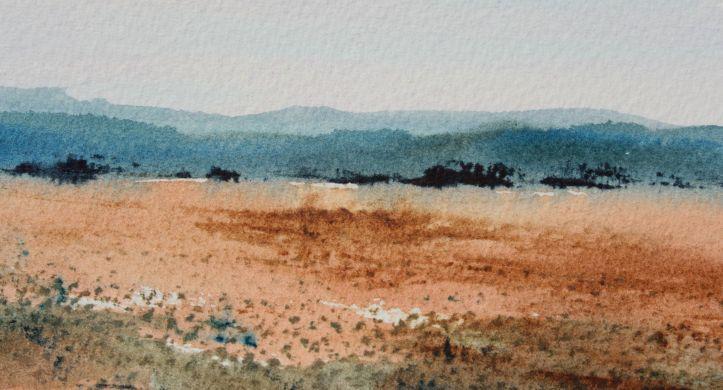 NSW blue hills watercolour landscape debiriley.com
