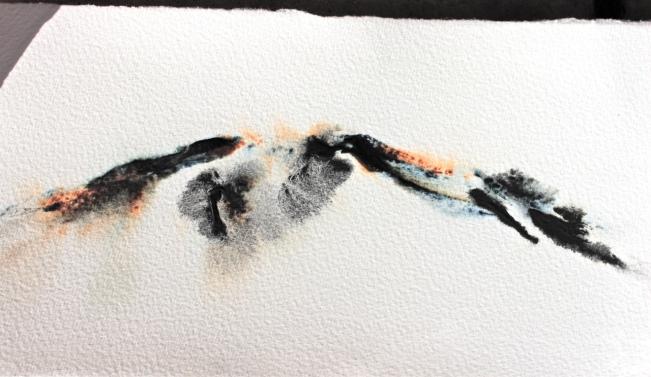 Watercolour mountain indigo naples yellow debiriley.com