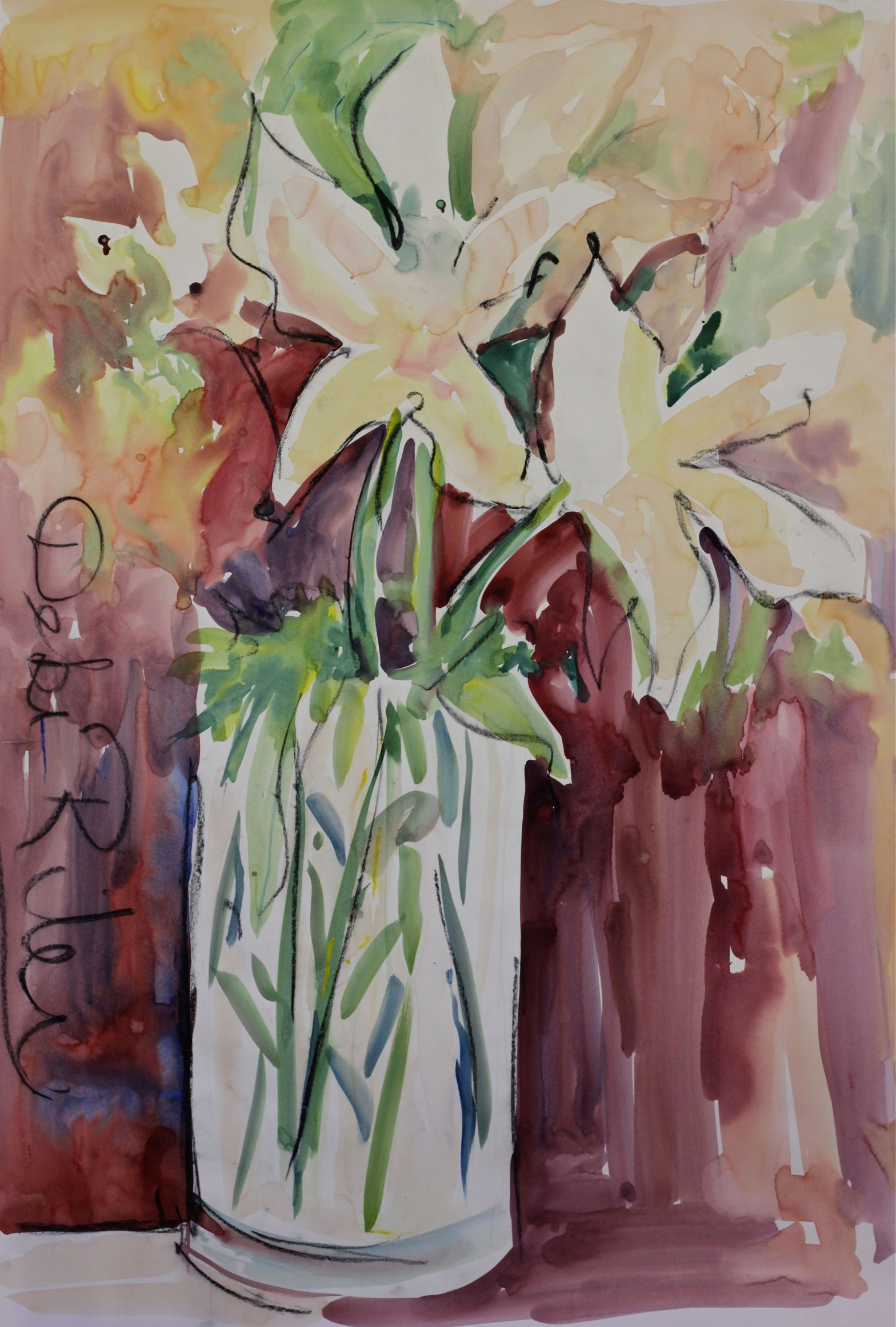 watercolor lilies, abstract flowers, Watercolours Wild Floral fast and loose painting debiriley.com