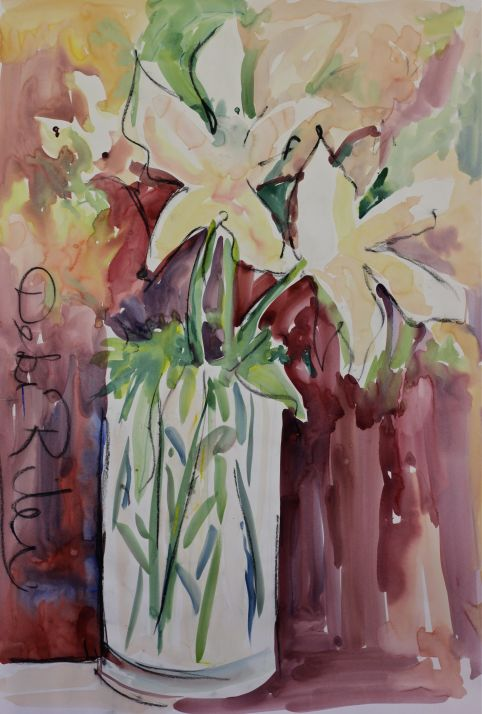 Watercolours Wild Floral fast and loose painting debiriley.com
