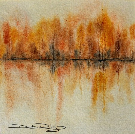Autumn Gold watercolour landscape foliage painting debiriley.com