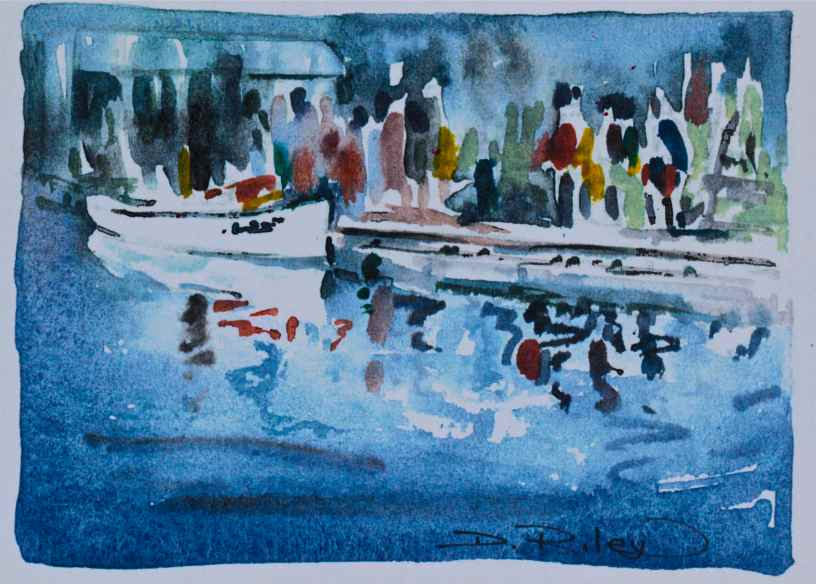 watercolours The Wharf impressionistic painting debiriley.com