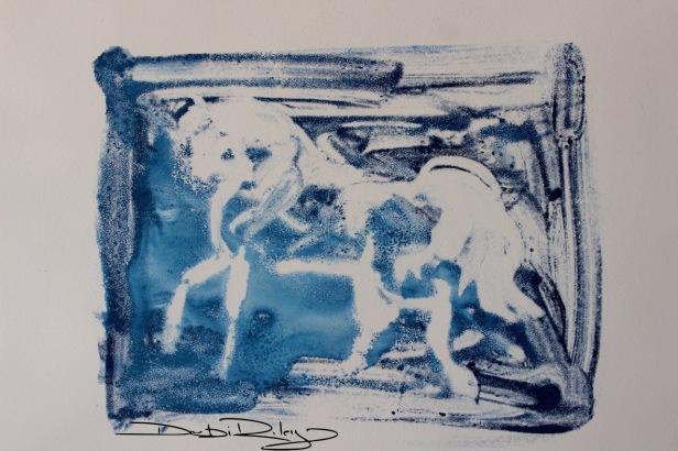 Dream Horse in Blue, mono print debiriley.com