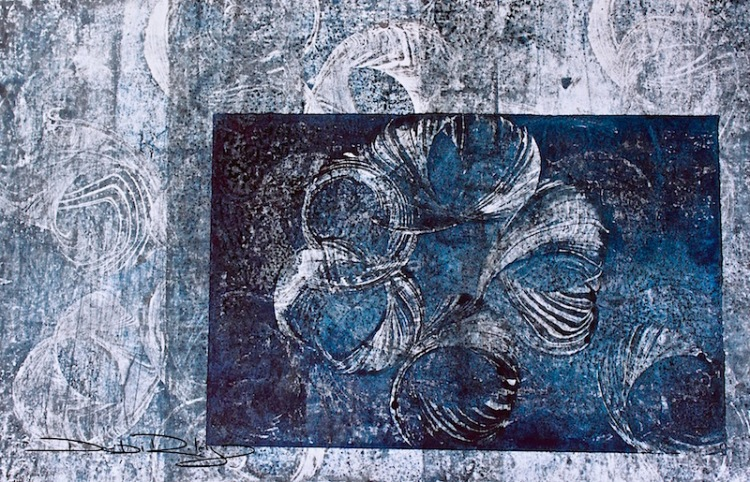 prussian blue monotype  debiriley.com