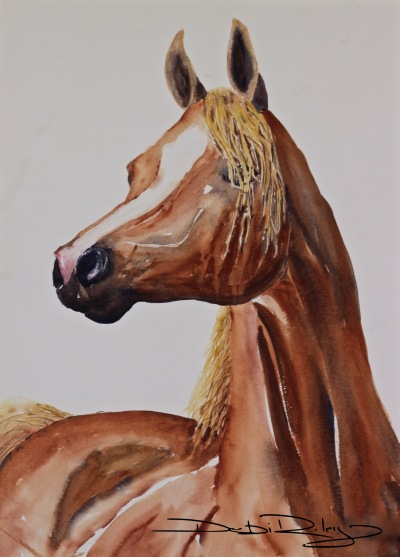 watercolour painting chestnut arabian mare debiriley.com