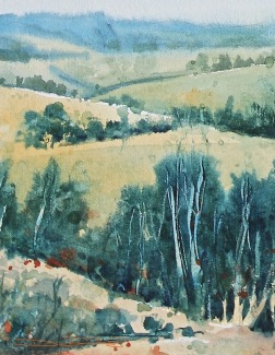Green HIlls watercolor, easy beginners landscapes, debi riley painting for watercolor beginners, debiriley.com