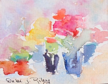 Impressionist watercolor flowers, bright colored flower painting, debiriley.com